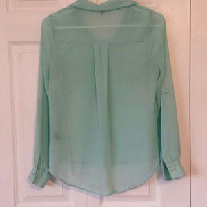 mine Tops - Mine sheer button up aqua blouse